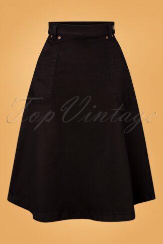 50s Delia Denim Swing Skirt in Black