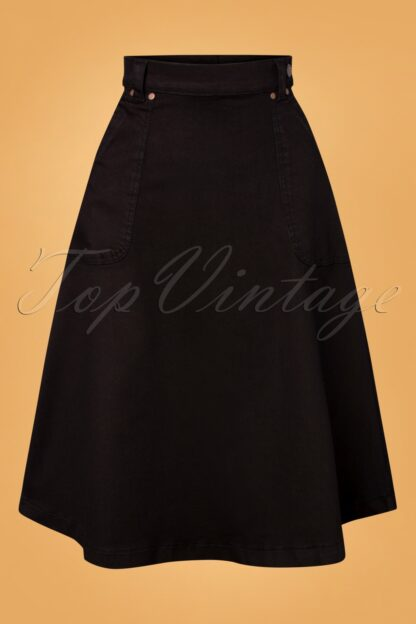 50s Delia Denim Swing Skirt in Black