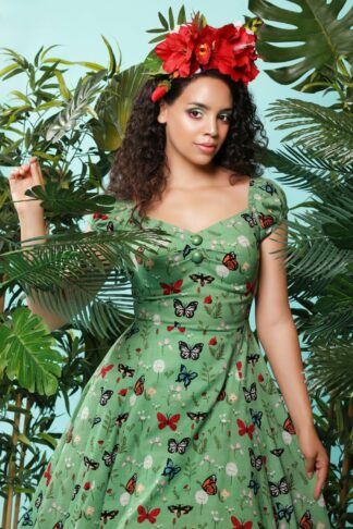 50s Dolores Butterfly Doll Dress in Green