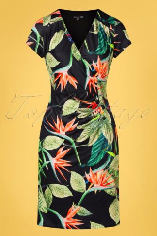 50s Doreen Tropical Pencil Dress in Black