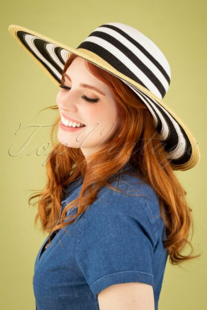 50s Dynasty Straw Hat in Black, White and Natural