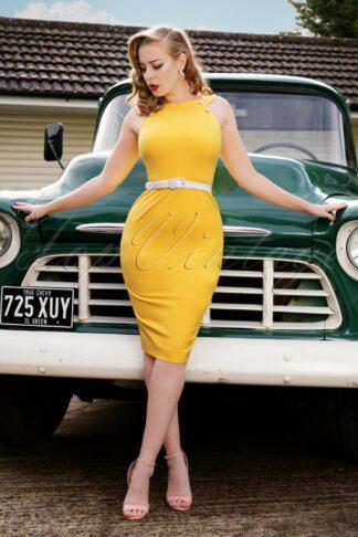 50s Fiona Pencil Dress in Sunny Yellow
