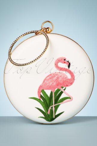 50s Flamingo Round Handbag in Ivory