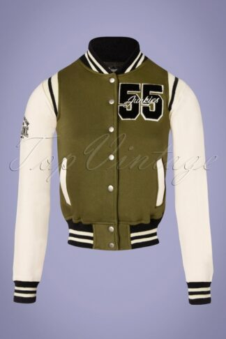 50s Gasoline Junkies Jacket in Olive and Off White
