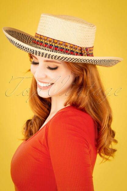 50s Gomez Straw Hat in Multi and Natural