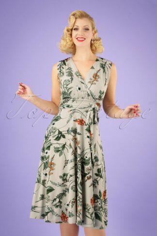 50s Jane Floral Midi Dress in Pastel Green