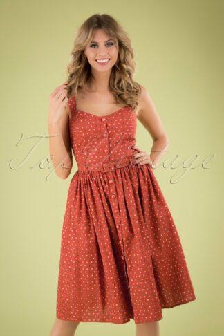 50s Jemima Polka Dot Swing Dress in Orange