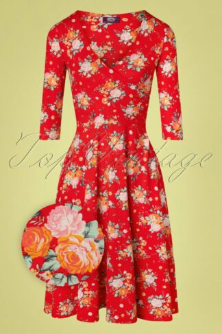 50s Kathy Floral Swing Dress in Red
