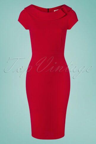 50s Kim Pencil Dress in Lipstick Red