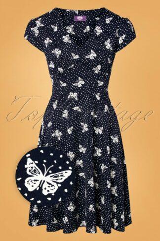 50s Leona Butterfly Swing Dress in Navy
