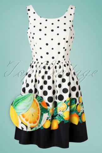 50s Lizet Polkadot Lemon Swing Dress in Ivory