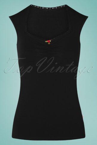 50s Logo Romance Top in Black
