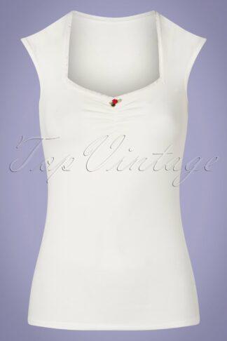 50s Logo Romance Top in White