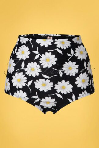 50s Louise High Waist Floral Bikini Bottoms in Black and White