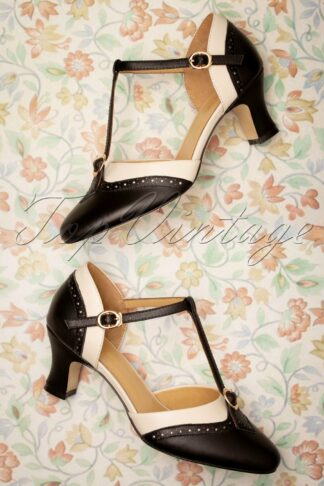 50s Luxe Parisienne T-Strap Pumps in Black and Cream