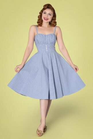 50s Melissendre Gingham Swing Dress in Blue and White