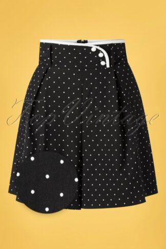 50s Paulina Polkadot High Waist Shorts in Black