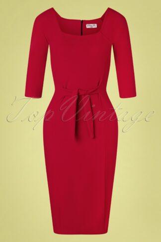 50s Perla Pencil Dress in Dark Red
