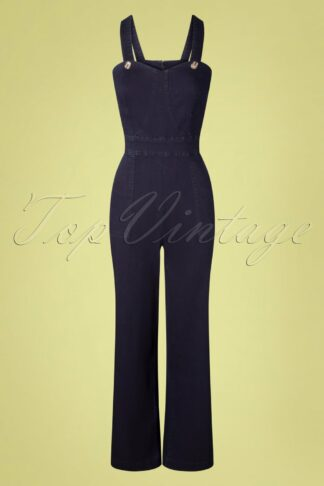 50s Play Day Jumpsuit in Denim Blue