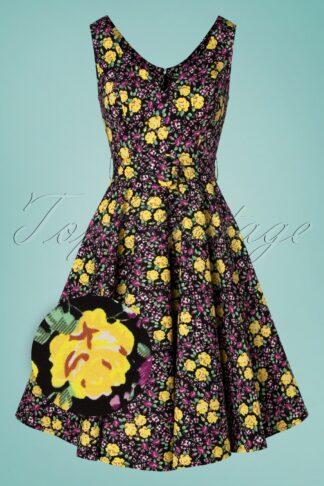 50s Ria Floral Swing Dress in Black