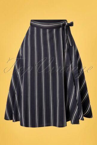 50s Sailor Stripes Wrap Swing Skirt in Navy