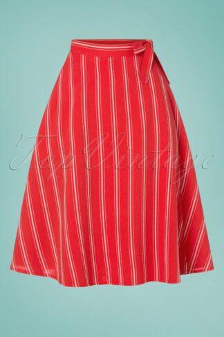 50s Sailor Stripes Wrap Swing Skirt in Red