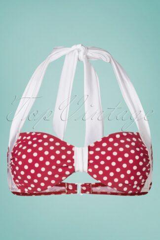 50s Sandy Polkadot Bikini Top in Red and White