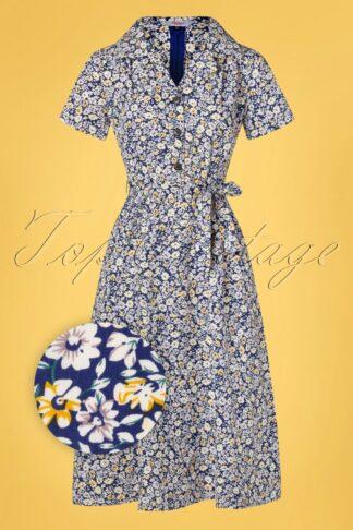 50s Secret Garden Swing Dress in Navy