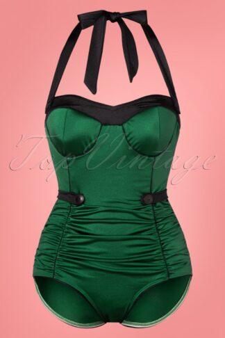 50s Serena One Piece Swimsuit in Glossy Dark Green