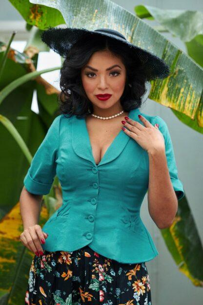 50s Shera Blazer Jacket in Turquoise
