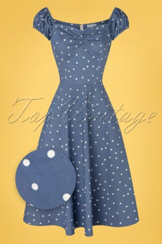 50s Sherry Spot Fit and Flare Swing Dress in Blue