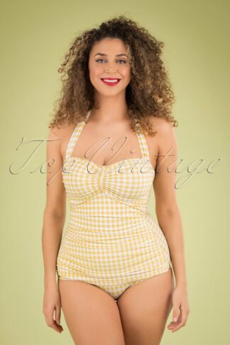 50s Summer Gingham One Piece Swimsuit in Yellow and White