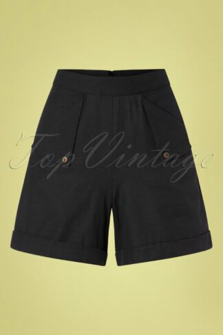 50s Sweet Summer Sail Shorts in Black