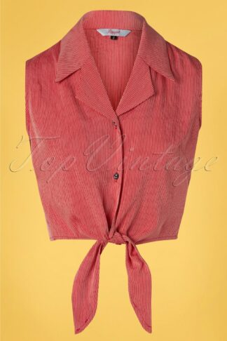 50s Texture Tie Shirt in Red