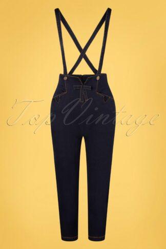50s Willa Capri Pants with Suspenders in Denim