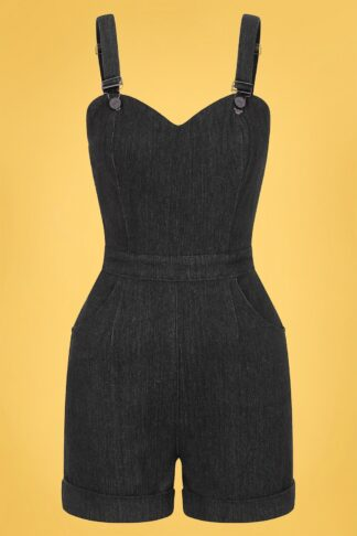 50s Willow Denim Playsuit in Black