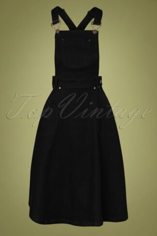 50s Workwear Denim Jumper Skirt in Black