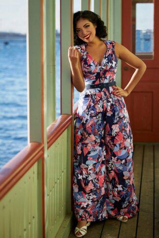 50s Zelene Lee Floral Jumpsuit in Navy