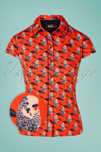 60s Be My Lady Blouse in Orange Red