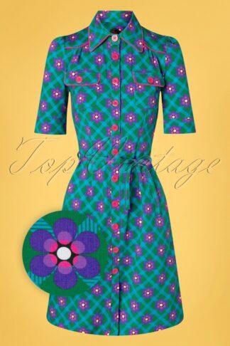 60s Betsy Chekkie Daisy Dress in Green