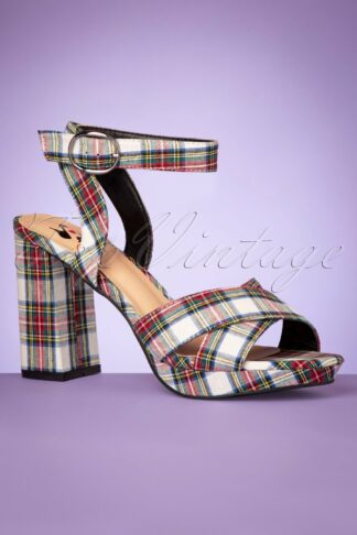 60s Cameron High Heeled Platform Sandals in White Tartan