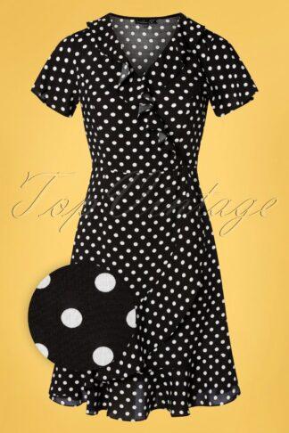 60s Charina Polkadot Dress in Black