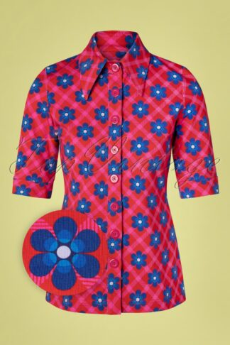 60s Chekkie Daisy Button Blouse in Red
