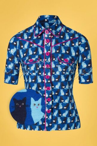 60s Dallas Catty Blouse in Blue