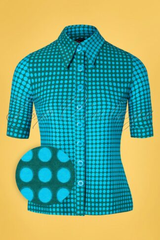 60s Disco Dots Button Blouse in Green
