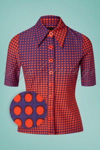 60s Disco Dots Button Blouse in Orange and Purple