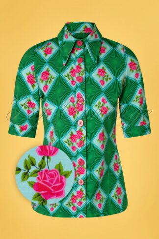 60s Doily Rose Button Blouse in Green