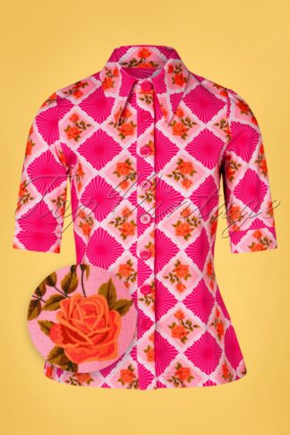 60s Doily Rose Button Blouse in Pink