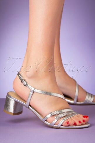 60s Edith Strappy Sandals in Silver