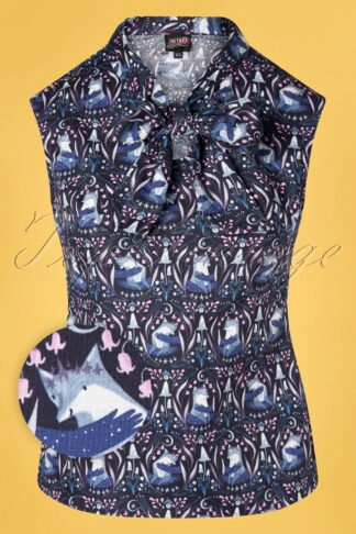 60s Foxes Bow Top in Navy